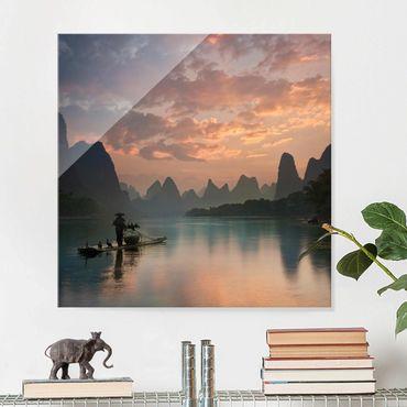 Quadro in vetro - Alba sul fiume cinese - Quadrato 1:1