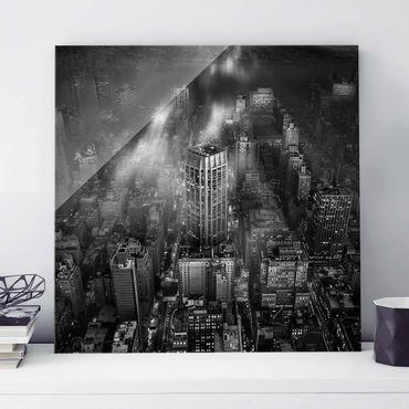 Quadro in vetro - Luce del sole su New York - Quadrato 1:1