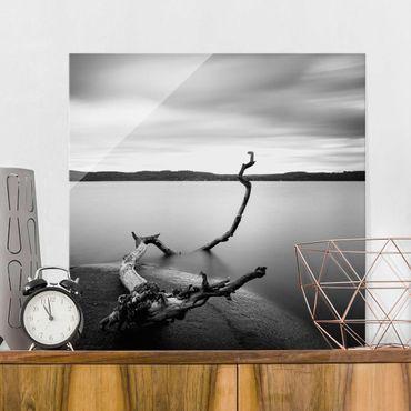 Quadro in vetro - Tramonto In Bianco e nero Dal Lago - Quadrato 1:1