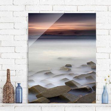 Quadro in vetro - Tramonto Nella Nebbia - Verticale 3:4
