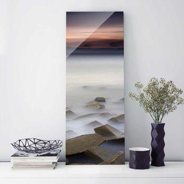 Quadro in vetro - Tramonto Nella Nebbia - Pannello