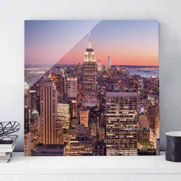 Quadro in vetro - Sunset Manhattan New York City - Quadrato 1:1