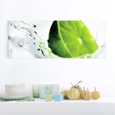 Quadro in vetro - Splash Lime - Panoramico