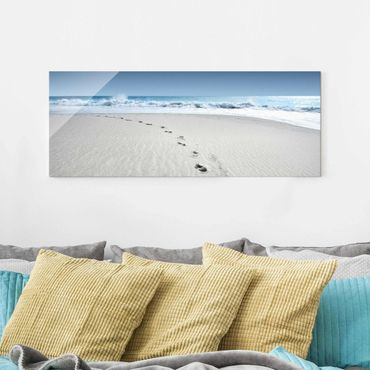 Quadro in vetro - Footprints in the sand - Panoramico