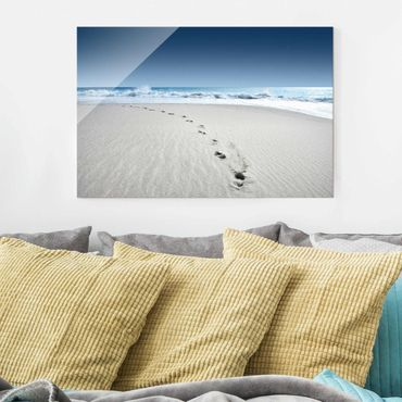 Quadro in vetro - Footprints in the sand - Orizzontale 3:2