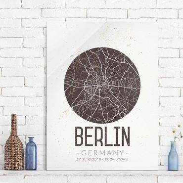 Quadro in vetro - Berlin City Map - Retro - Verticale 3:4