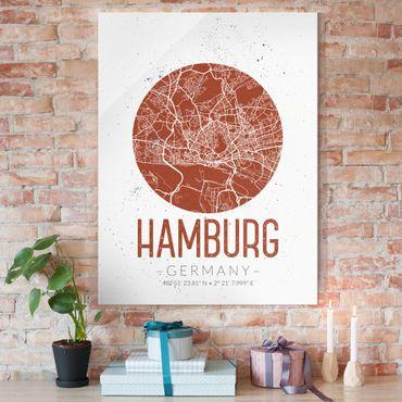 Quadro in vetro - Hamburg City Map - Retro - Verticale 3:4