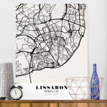 Quadro in vetro - Lisbon City Map - Classic - Verticale 3:4