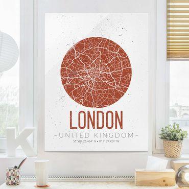 Quadro in vetro - London City Map - Retro - Verticale 3:4