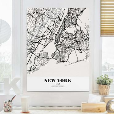 Quadro in vetro - New York City Map - Classic - Verticale 3:4
