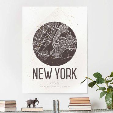 Quadro in vetro - New York City Map - Retro - Verticale 3:4