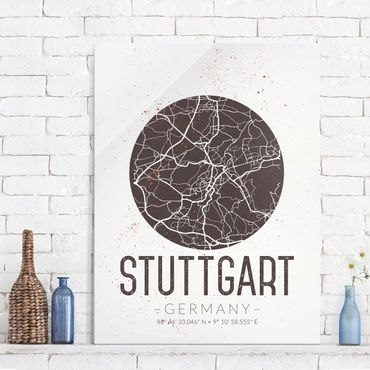 Quadro in vetro - Stuttgart City Map - Retro - Verticale 3:4