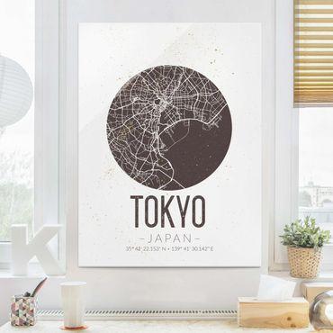 Quadro in vetro - Tokyo City Map - Retro - Verticale 3:4