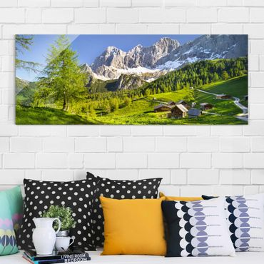 Quadro in vetro - Styria Alpine meadow - Panoramico