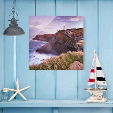 Quadro in vetro - Cliff and lighthouse - Quadrato 1:1