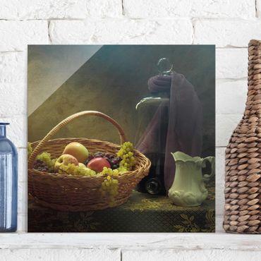 Quadro in vetro - Natura morta con Cesto di Frutta - Quadrato 1:1