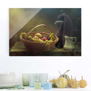 Quadro in vetro - Natura morta con Cesto di Frutta - Orizzontale 3:2