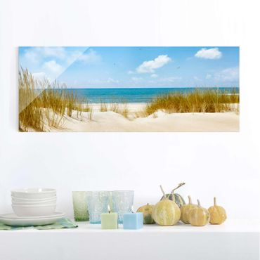 Quadro in vetro - Beach on the North Sea - Panoramico