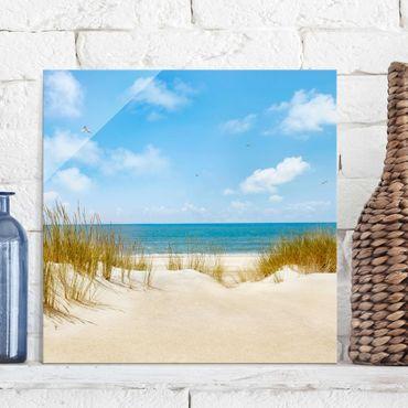 Quadro in vetro - Beach at the North Sea - Quadrato 1:1