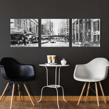Quadro in vetro - NYC Urban black-white - 3 parti