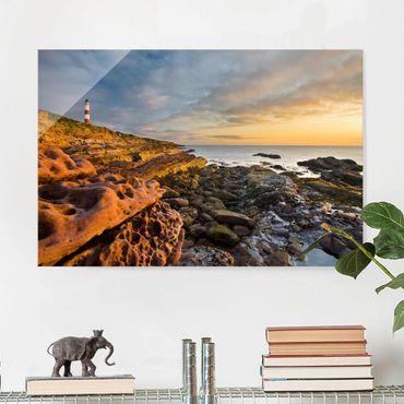 Quadro in vetro - Tarbat Ness Lighthouse and sunset at sea - Quadrato 1:1