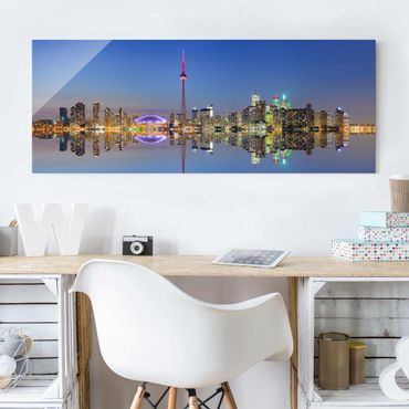 Quadro in vetro - Toronto City Skyline before Lake Ontario - Panoramico