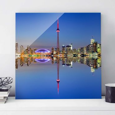 Quadro in vetro - Toronto City Skyline before Lake Ontario - Quadrato 1:1