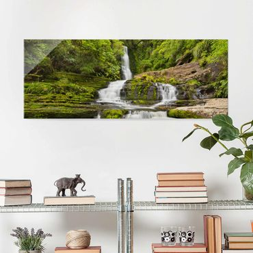 Quadro in vetro - Upper Mclean Falls In New Zealand - Panoramico