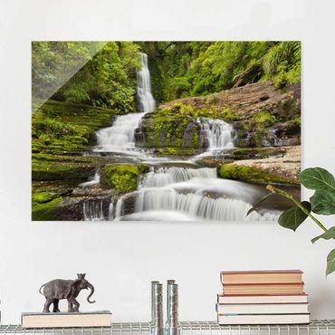Quadro in vetro - Upper Mclean Falls In New Zealand - Orizzontale 3:2
