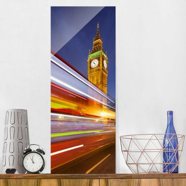 Quadro in vetro - Traffic in London at the Big Ben at night - Pannello