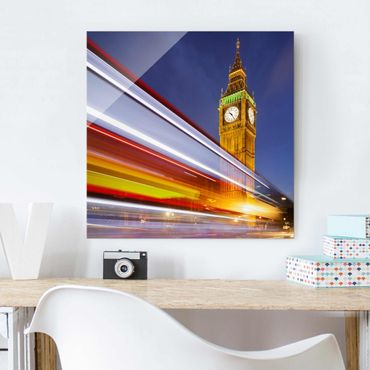 Quadro in vetro - Traffic in London at the Big Ben at night - Quadrato 1:1