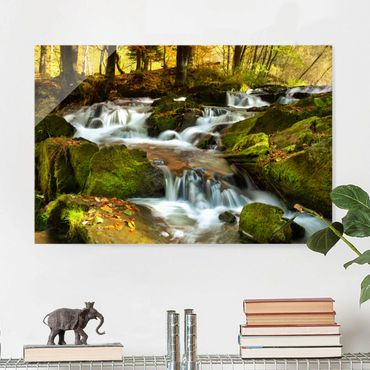 Quadro in vetro - Waterfall autumn forest - Orizzontale 3:2