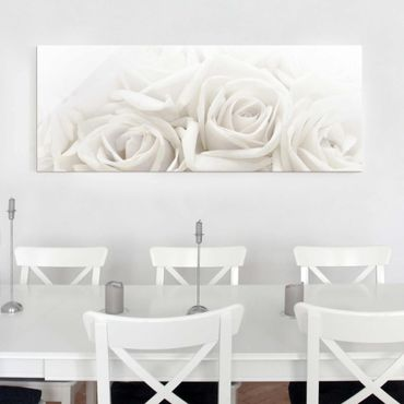 Quadro in vetro - Wedding Roses - Panoramico