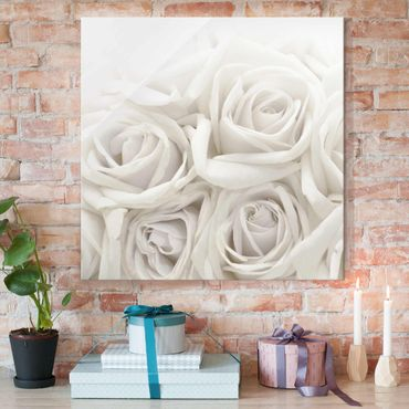 Quadro in vetro - Wedding Roses - Quadrato 1:1