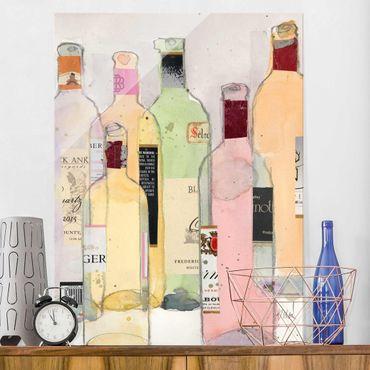 Quadro in vetro - Bottiglie Di Vino In Acquerello I - Verticale 3:4