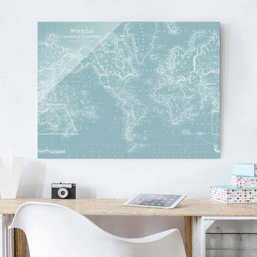 Quadro in vetro - Mappa Del Mondo In Blu Ghiaccio - Large 3:4