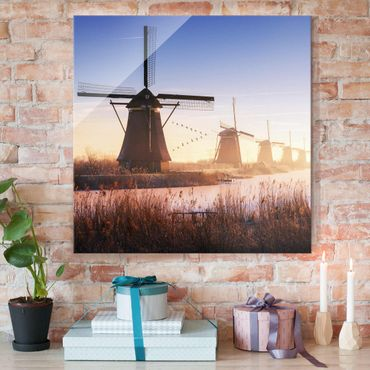 Quadro in vetro - Mulini a Vento di Kinderdijk - Quadrato 1:1