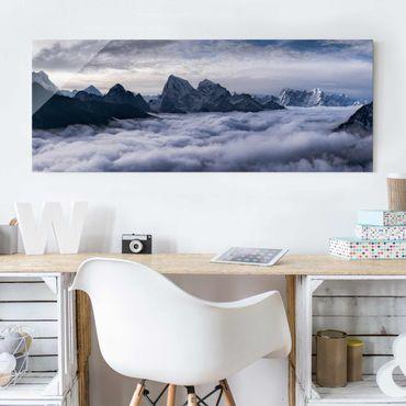 Quadro in vetro - Mare di nubi in Himalaya - Panoramico