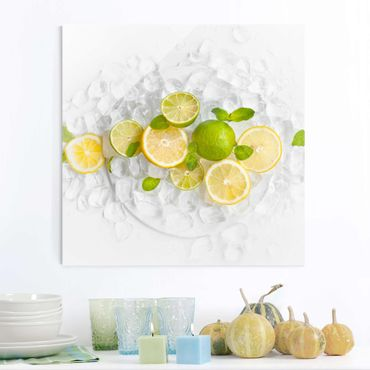 Quadro in vetro - Citrus Fruits On Ice - Quadrato 1:1