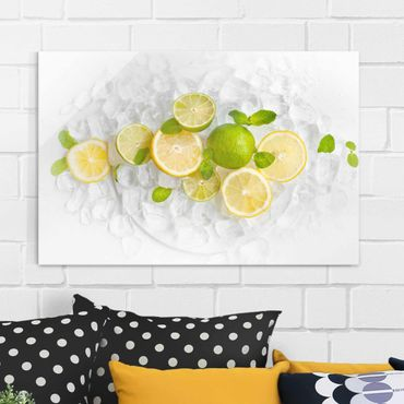 Quadro in vetro - Citrus Fruits On Ice - Orizzontale 3:2