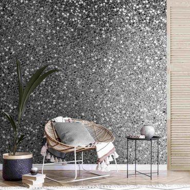 Carta da parati metallizzata - Coriandoli glitterati in bianco e nero