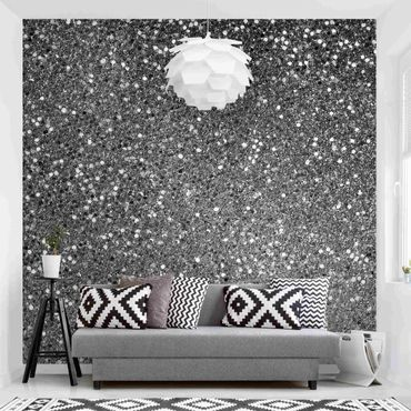 Carta da parati - Coriandoli glitterati in bianco e nero