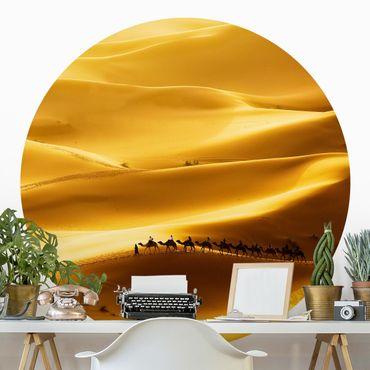 Carta da parati rotonda autoadesiva - dune dorate