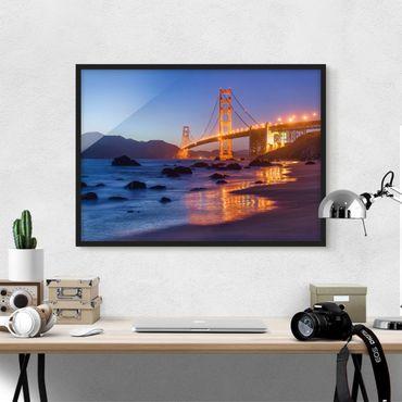 Poster con cornice - Golden Gate Bridge la sera