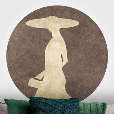 Carta da parati rotonda autoadesiva - Golden Lady con cappello