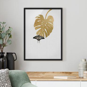 Poster con cornice - Monstera dorata con farfalla