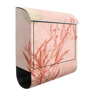 Cassetta postale - Sole dorato con bambù rosa