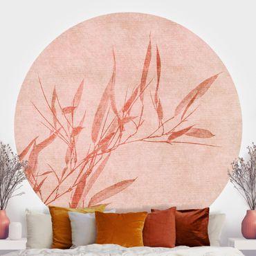 Carta da parati rotonda autoadesiva - Golden Sun Rosa di bambù