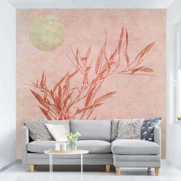 Carta da parati - Sole dorato con bambù rosa