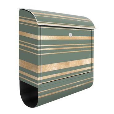 Cassetta postale - Righe dorate su sfondo verde
